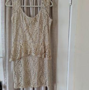 Lace beige dress